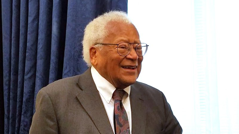 The Rev. James Lawson, United Methodist advocate for civil rights and nonviolence, at a reception in Washington, D.C., on Nov. 14, 2018. Members of Congress announced support of legislation to recognize him with a Congressional Gold Medal. RNS photo by Adelle M. Banks
