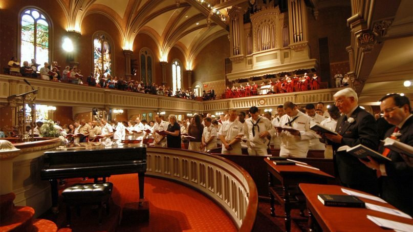People worship at Marble Collegiate Church in New York. Photo courtesy of Creative Commons