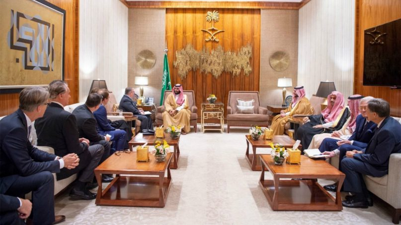 A delegation of conservative evangelical Christian leaders from the United States met Thursday (Nov. 1) withMohammed bin Salman, the crown prince of Saudi Arabia, who is under fire after the death of a journalist in his country's embassy in Istanbul. Photo by Saudi Press Agency, provided by Johnnie Moore