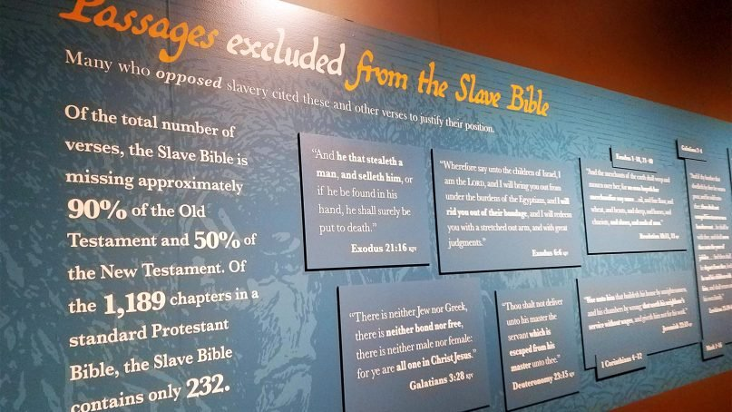 The Slave Bible exhibit at the Museum of the Bible features a version of the holy book that excluded major portions of the Old and New Testaments. RNS photo by Adelle M. Banks