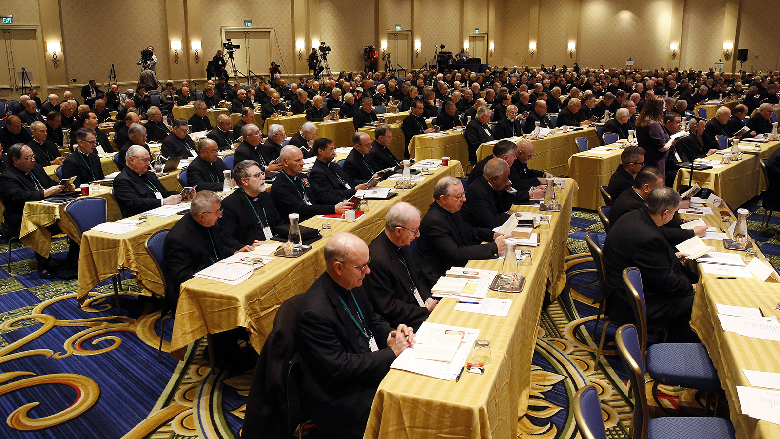 Members of the U.S. Conference of Catholic Bishops gather for the USCCB's annual fall meeting on Nov. 12, 2018, in Baltimore. (AP Photo/Patrick Semansky)