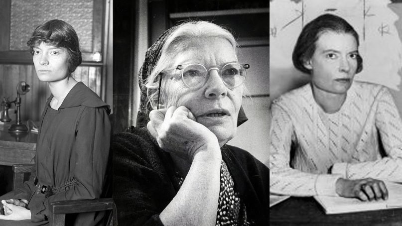 Dorothy Day through the 20th century, from left, 1916, 1968, and 1934. Outer photos courtesy of Creative Commons; center photo courtesy of Milwaukee Journal/Marquette University Archives