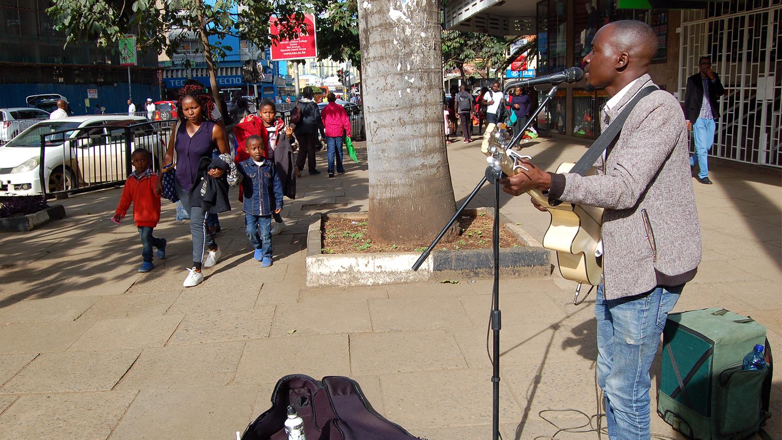 Lone street guitarist shares Christmas spirit in Nairobi