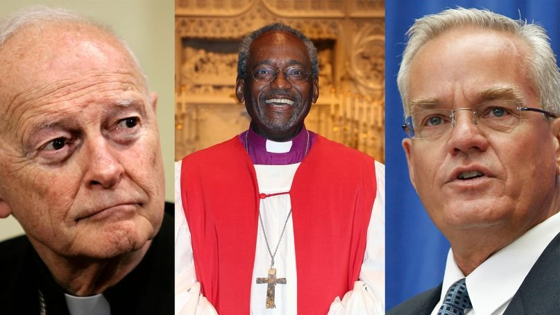 2018 saw Cardinal Theodore McCarrick, left, and Bill Hybels, right, fall from grace, while the Rev. Michael Curry, center, rose to fame. (McCarrick and Hybels photos via AP; Curry photo by Summerlee Walter/Episcopal Diocese of NC)