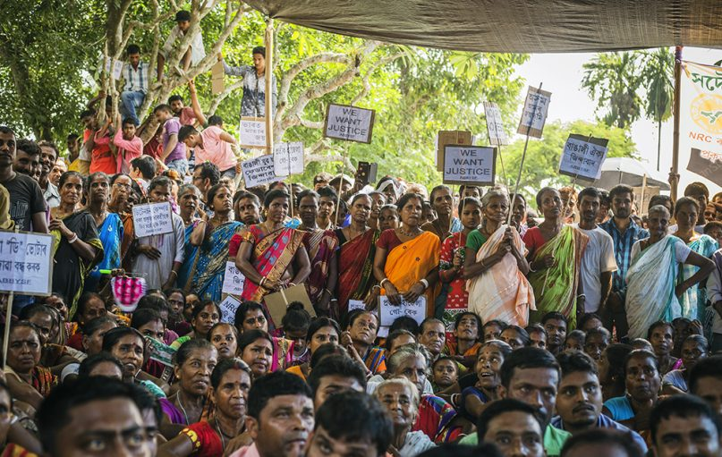 Bengali-speaking Hindus protest against alleged discrimination in the National Register of Citizens in the Udalguri district of Assam in northeastern India in September 2018. RNS photo by Vishal Arora