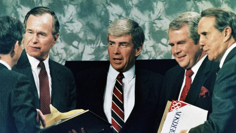 Republican presidential candidates in 1988 included, from left, Vice President George Bush, Rep. Jack Kemp, Pat Robertson and Sen. Robert Dole after a debate in Atlanta on Feb. 28, 1988. (AP Photo)