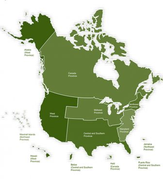 A map of the Jesuit provinces in the United States and Canada. Image courtesy of Jesuits.org