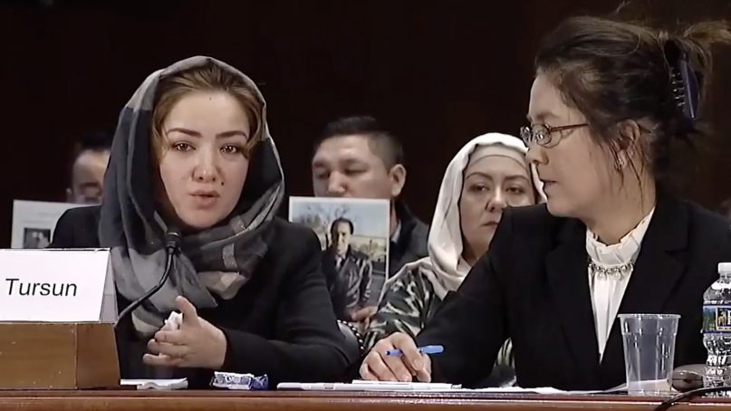 Mihrigul Tursun, left, testifies about her experiences as a Uighur in China before the U.S. Congressional-Executive Commission on China in Washington on Nov. 28, 2018. Video screenshot