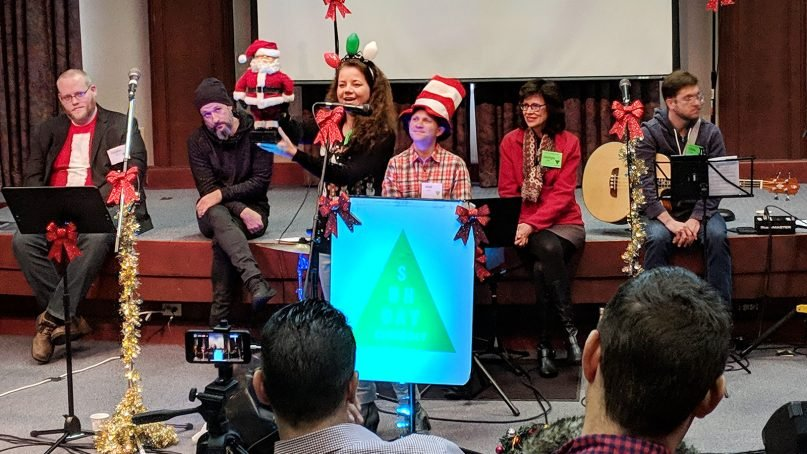 Nicole Dittrich, center, talks about the origins of Santa Claus during the Sunday Assembly Nashville gathering at Vanderbilt University on Dec. 9, 2018, in Nashville. SAN is a secular congregation that meets regularly to celebrate life. RNS photo by Bailey Basham