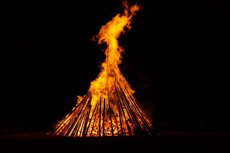 A bonfire to celebrate the winter solstice. Photo courtesy of Creative Commons
