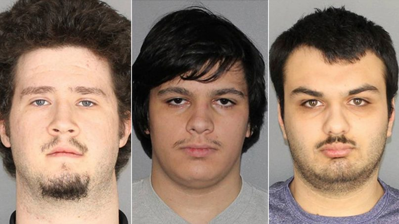 This combination of three Jan. 22, 2019, photographs released by the Greece Police Department in Greece, N.Y., shows Brian Colaneri, from left, Andrew Crysel and Vincent Vetromile. Authorities said the three men, all from the Rochester, N.Y., area, were charged with plotting to attack Islamberg, a rural upstate New York Muslim community, with explosives. A fourth suspect has not been identified publicly because he is a juvenile. Photo courtesy of Greece Police Department