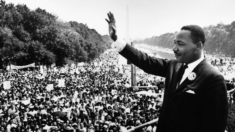 """Martin Luther King Jr. addresses a crowd from the steps of the Lincoln Memorial where he delivered his famous, """"I Have a Dream,"""" speech during the Aug. 28, 1963, March on Washington, D.C. Photo courtesy of Creative Commons"""