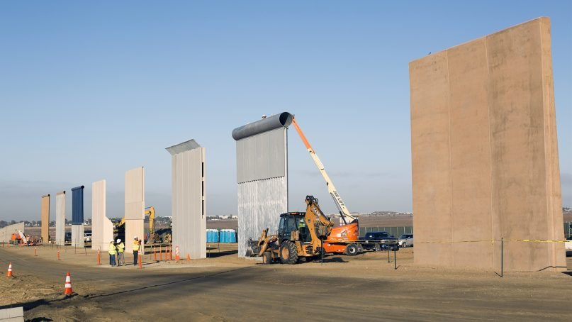 Ground views of different border wall prototypes as they take shape at the wall prototype construction project near the Otay Mesa Port of Entry in October 2017. Photo by Mani Albrecht/USCBP/Creative Commons  Photo by: Mani Albrecht