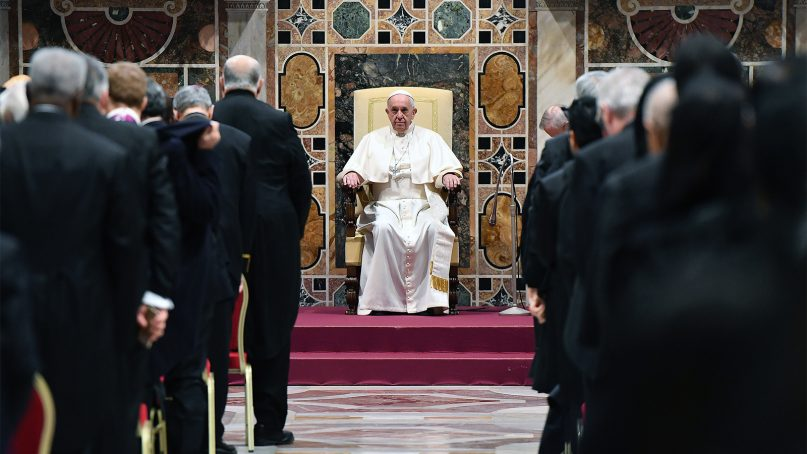 Pope Francis attends an audience with the members of the diplomatic corps accredited to the Holy See for the traditional exchange of New Year greetings at the Sala Regia, at the Vatican, on Jan. 7, 2019. Francis says next month's meeting of bishops from around the world aims to