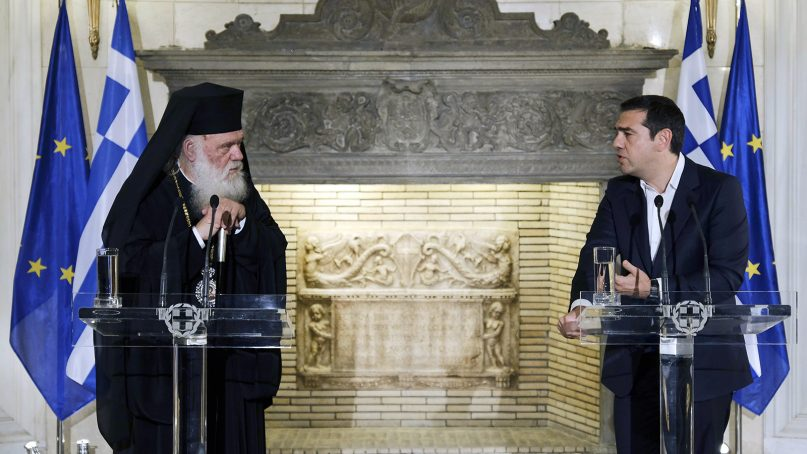 Archbishop Ieronymos, left, meets Greek Prime Minister Alexis Tsipras at the laterís office in Maximou Residence to announce a deal between the Greek Orthodox Church and the Greek state on Nov. 6, 2018, in Athens, Greece. Photo by Andrea Bonetti/Office of the President of the Hellenic Parliament