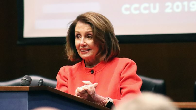 House Speaker Nancy Pelosi addresses the Presidents Conference of the Council for Christian Colleges and Universities on Jan. 30, 2019, at Dirksen Senate Office Building in Washington. RNS photo by Adelle M. Banks