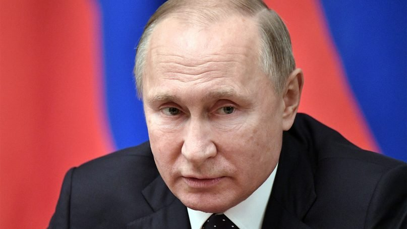 Russian President Vladimir Putin attends a Cabinet meeting in Moscow on Dec. 26, 2018. (Alexei Nikolsky, Sputnik, Kremlin Pool Photo via AP)