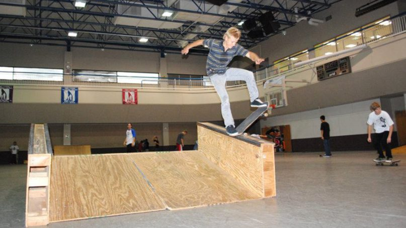 Every Sunday the Youth and Family Center gym of the First United Methodist Church in Tulsa, Okla., is converted into a skate park.  Photo courtesy of First United Methodist Church