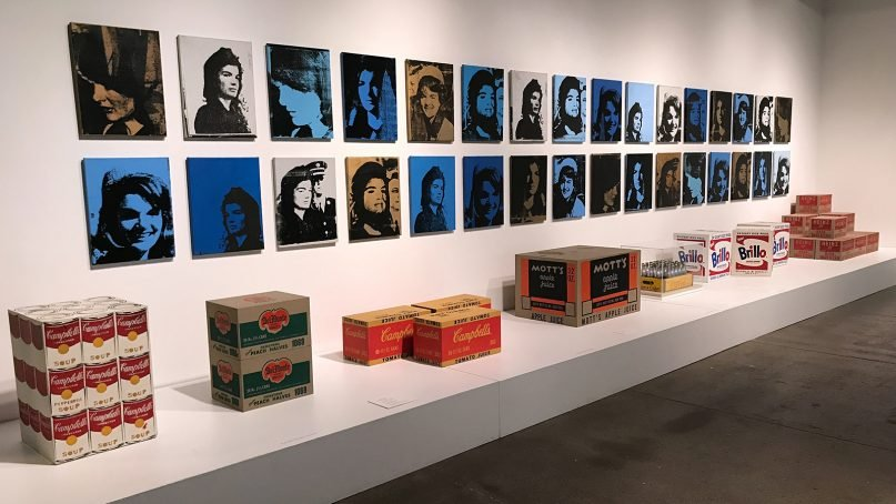 Artwork by Andy Warhol on display at The Andy Warhol Museum in Pittsburgh, Pa., including ordinary consumer goods such as Brillo pads, right. RNS photo by Menachem Wecker