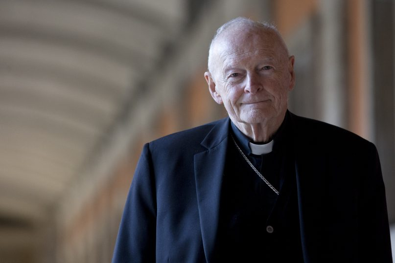 FILE - In this Feb. 13, 2013 file photo, Cardinal Theodore Edgar McCarrick poses during an interview with the Associated Press, in Rome. On Saturday, Feb. 16, 2019 the Vatican announced Pope Francis defrocked former U.S. Cardinal Theodore McCarrick after Vatican officials found him guilty of soliciting for sex while hearing Confession. (AP Photo/Andrew Medichini, file)