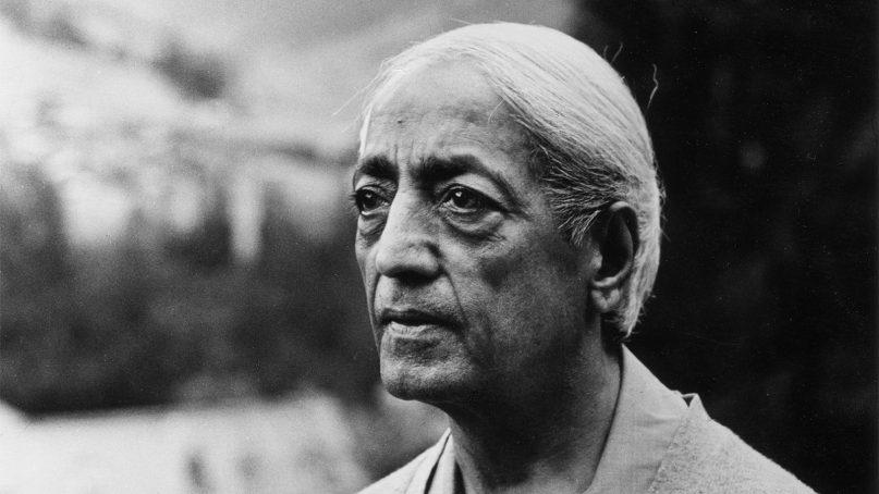 Indian philosopher Jiddu Krishnamurti in 1968.  Photo by Mark Edwards. Copyright Krishnamurti Foundation Trust