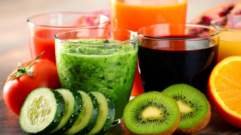 Glasses with fresh organic vegetable and fruit juices as part of a detox diet. Many people opt to make healthier diet decisions during Lent, rather than simply abstaining from certain things. Photo by Derrick Brutel/Creative Commons