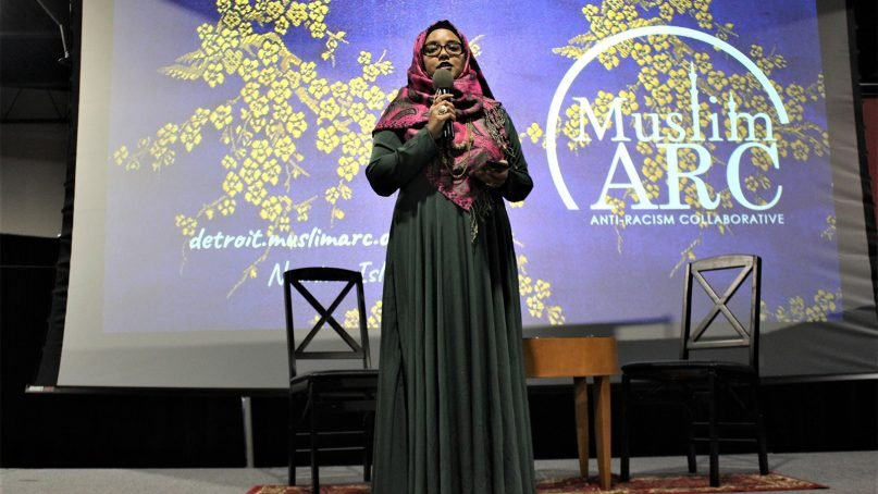 Namira Islam, executive director of MuslimARC, speaks at the organization's Michigan Gala on Nov. 10, 2018, at the Arab American National Museum Annex in Dearborn, Michigan. Photo by Tamanna Azim