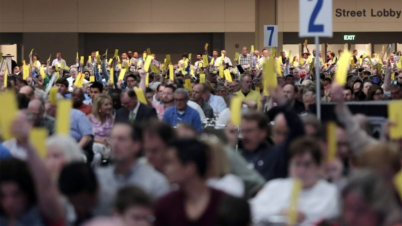 Thousands of Southern Baptist Convention delegates voted on a new president and several resolutions at their meeting on June 10, 2014. Photo by Van Payne/Baptist Press