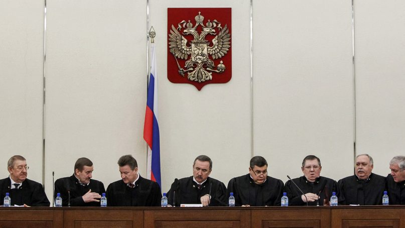 Judges of Russia's Supreme Court attend a hearing in Moscow on Jan. 23, 2014. Photo by Maxim Shemetov/Reuters