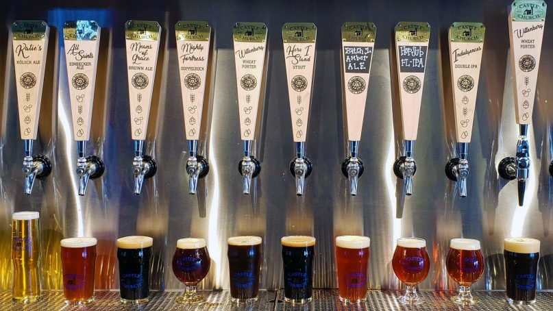 The tap lineup at Castle Church Brewing Community in Orlando, Fla. Photo courtesy of Keith Spencer