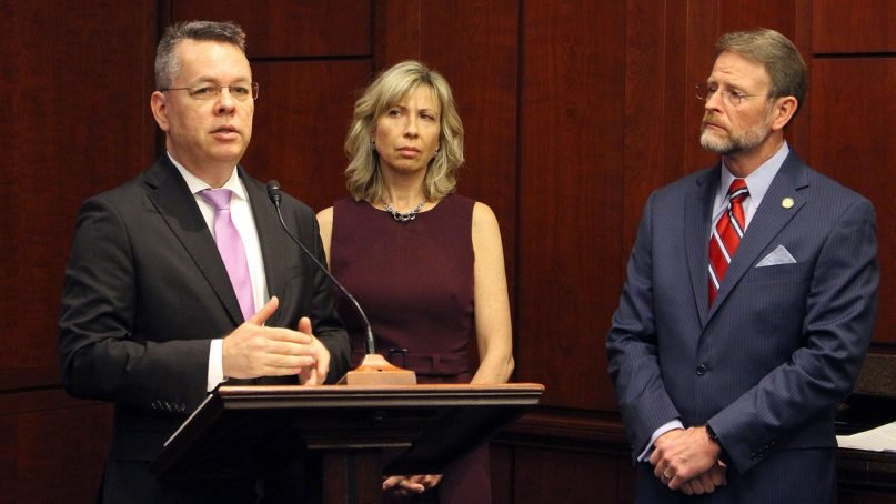 Andrew Brunson speaks during a U.S. Commission on International Religious Freedom event in Washington on Feb. 6, 2019. He was joined by his wife, Norine, and USCIRF Commissioner Tony Perkins. Photo courtesy of USCIRF