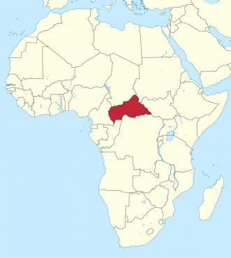 Central African Republic, red, in central Africa. Image courtesy of Creative Commons