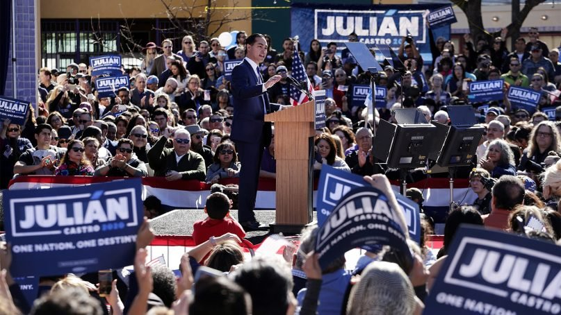 Former San Antonio Mayor and Housing and Urban Development Secretary Julián Castro speaks during an event where he announced his decision to seek the 2020 Democratic presidential nomination, on Jan. 12, 2019, in San Antonio. (AP Photo/Eric Gay)