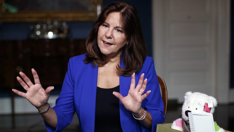 Karen Pence is interviewed at the vice president's residence, the Naval Observatory, in Washington, on Sept. 10, 2018. Pence taught art in a Washington suburb from 2001 to 2013. (AP Photo/Carolyn Kaster)