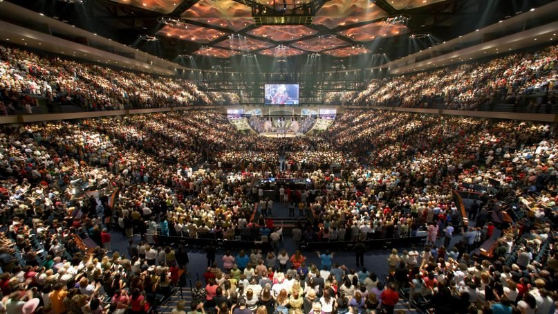 Lakewood Church is a nondenominational Christian megachurch in Houston. It is one of the largest congregations in the U.S., occupying a former sports arena. Photo courtesy of Creative Commons
