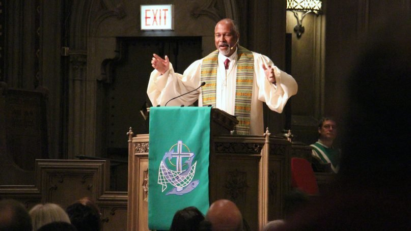 The Rev. Myron McCoy preaches Jan. 20, 2019, at First United Methodist Church at Chicago Temple. RNS photo by Emily McFarlan Miller