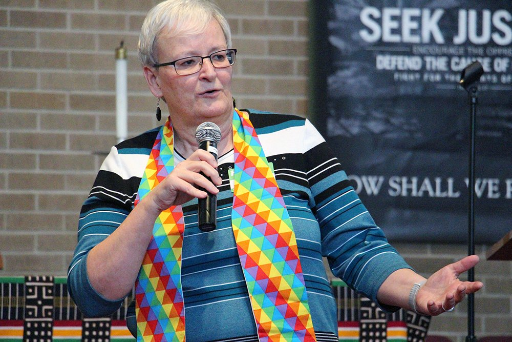 Reconciling Ministries Network Executive Director Jan Lawrence speaks at the Winter Warming event on Jan. 19, 2019, at Faith United Methodist Church in Dolton, Ill. RNS photo by Emily McFarlan Miller
