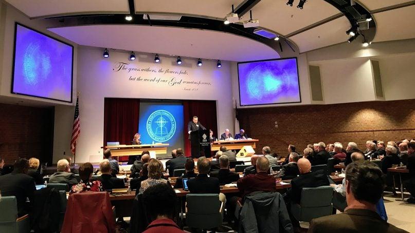 Southern Baptist Convention President J.D. Greear addresses the denomination's Executive Committee in Nashville, Tenn., on Feb. 18, 2019. RNS photo by Bob Smietana