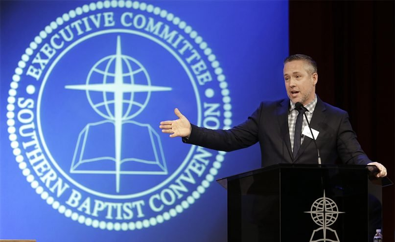 Southern Baptist Convention President J.D. Greear speaks to the denomination's executive committee on Feb. 18, 2019, in Nashville, Tennessee. (AP Photo/Mark Humphrey)
