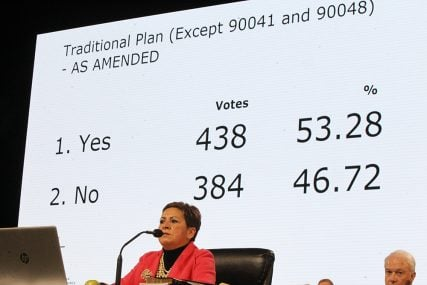 Bishop Cynthia Fierro Harvey announces the results of the Traditional Plan votes late on Feb. 26, 2019. RNS photo by Kit Doyle
