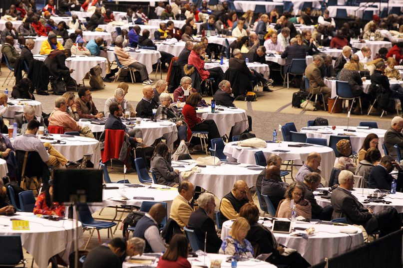 Delegates attend the day of prayer on Feb. 23, 2019, ahead of the special session of the United Methodist Church General Conference in St. Louis. RNS photo by Kit Doyle