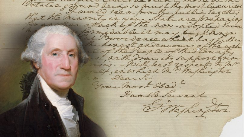A 1788 letter from George Washington recently sold for $140,000. Washington photo courtesy of Creative Commons; letter photo courtesy of Raab Collection