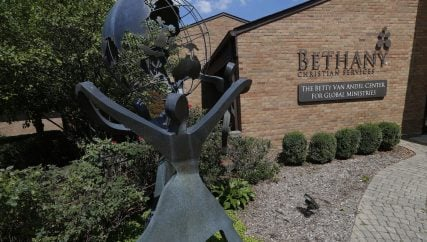 This Aug. 23, 2018, photo shows the Bethany Christian Services headquarters in Grand Rapids, Michigan. Bethany is one of the nation's largest adoption agencies. (AP Photo/Paul Sancya)