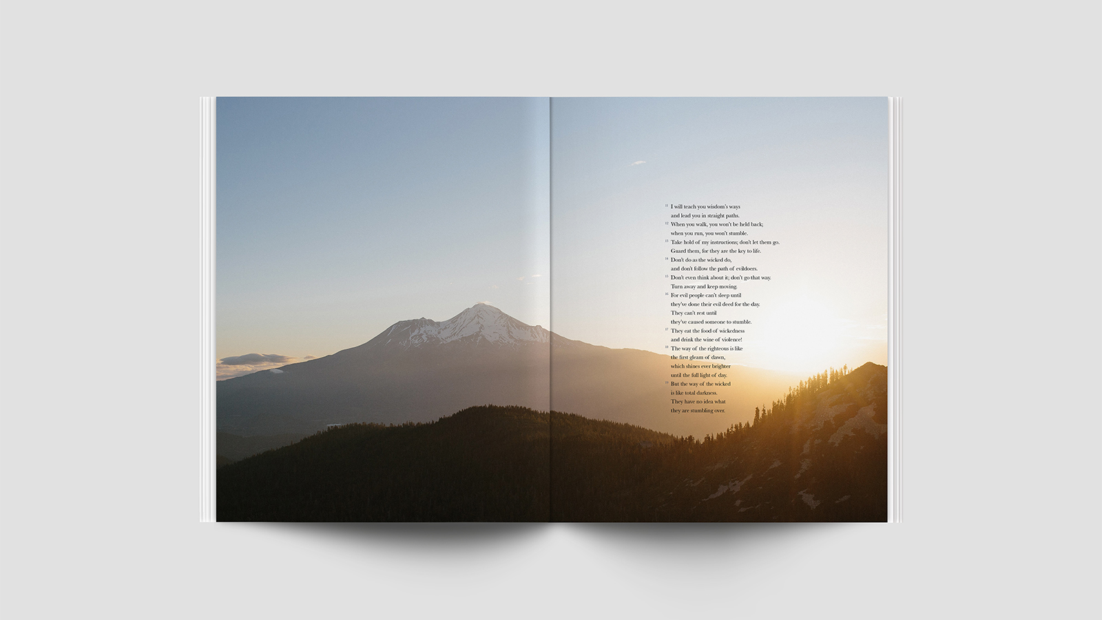A two-page spread in Proverbs. Photo courtesy of Alabaster Co.