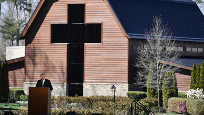 Franklin Graham, son of Billy Graham, speaks during a funeral service at the Billy Graham Library for Billy Graham on March 2, 2018, in Charlotte, N.C. (AP Photo/Mike Stewart)