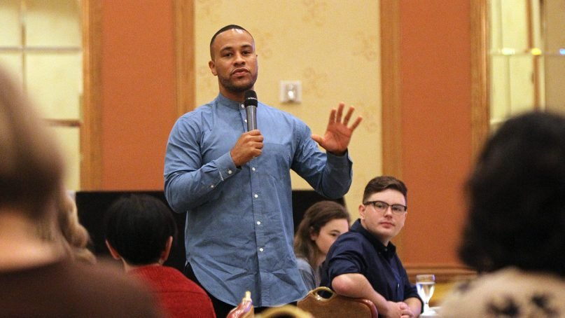 Filmmaker DeVon Franklin talks about his work before previewing a clip at the RNA Conference on Sept. 15, 2018, in Columbus, Ohio. RNS photo by Kit Doyle