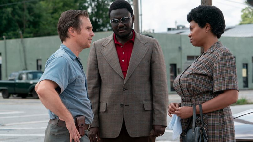 """Sam Rockwell, left, and Taraji P. Henson, right, star in """"The Best of Enemies."""" Photo courtesy of Astute Films"""