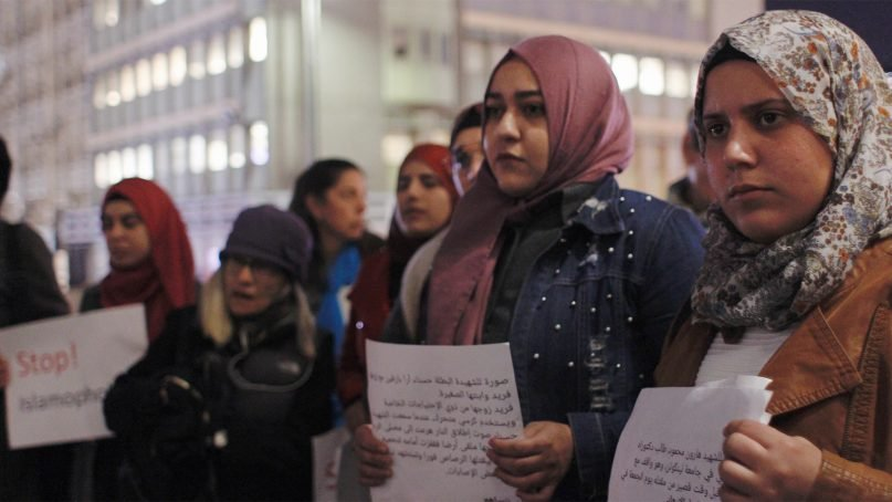 Women participate in a vigil outside the New Zealand embassy in Tel Aviv, Israel, on March 17, 2019. Photo courtesy of Natacha Larnaud
