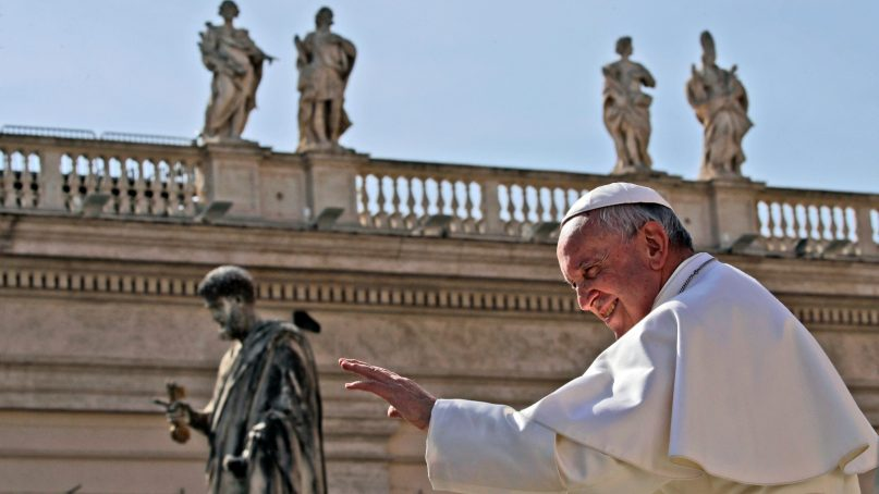 Pope Francis leaves at the end of his weekly general audience in St. Peter's Square at the Vatican on  March 6, 2019. (AP Photo/Alessandra Tarantino)