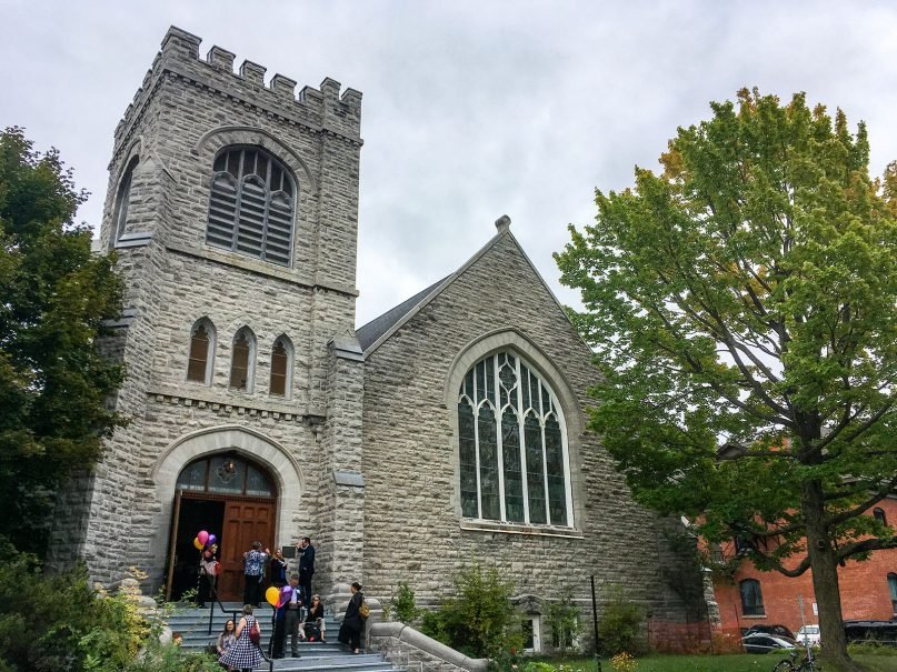 A meeting of the Canadian Council for International Cooperation fills allsaints event space, formerly All Saints Anglican Church, in 2018. RNS photo by John Longhurst.